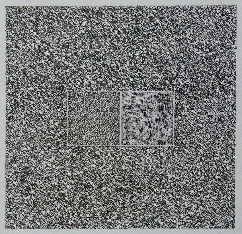 高瀬智淳《紙片》2013年 紙、インク 60×62mm ※極小の絵画。会場に拡大鏡を用意する予定です。