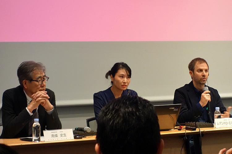 (左より)南條史生、椿玲子、レアンドロ・エルリッヒ