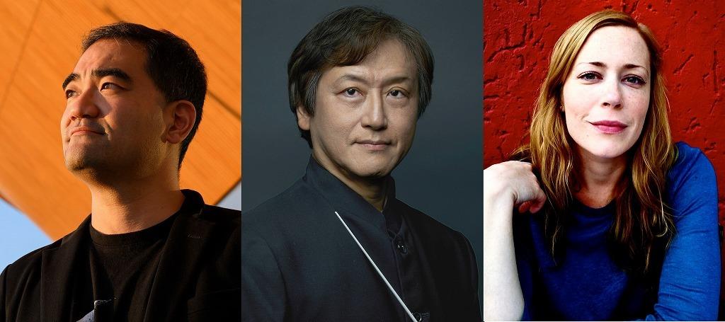 (左から)藤倉大、大野和士、リディア・シュタイアー