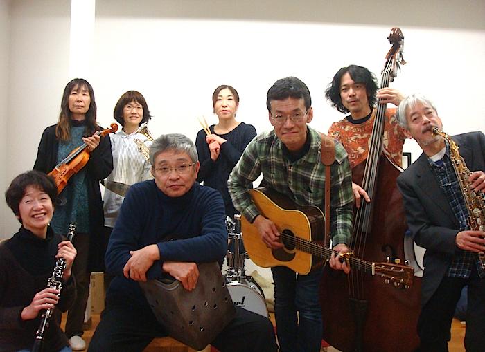 前列左から・金原祐三子、北村想、こつじまさのり、小林正和 後列左から・中島由紀子、たなかちさ、スズキナコ、うちだしげのぶ