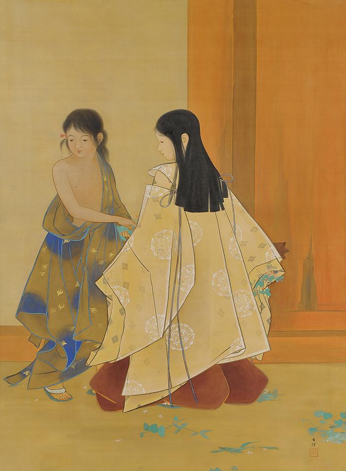 小林古径《闘草》 1907(明治 40)年頃 絹本・彩色 山種美術館