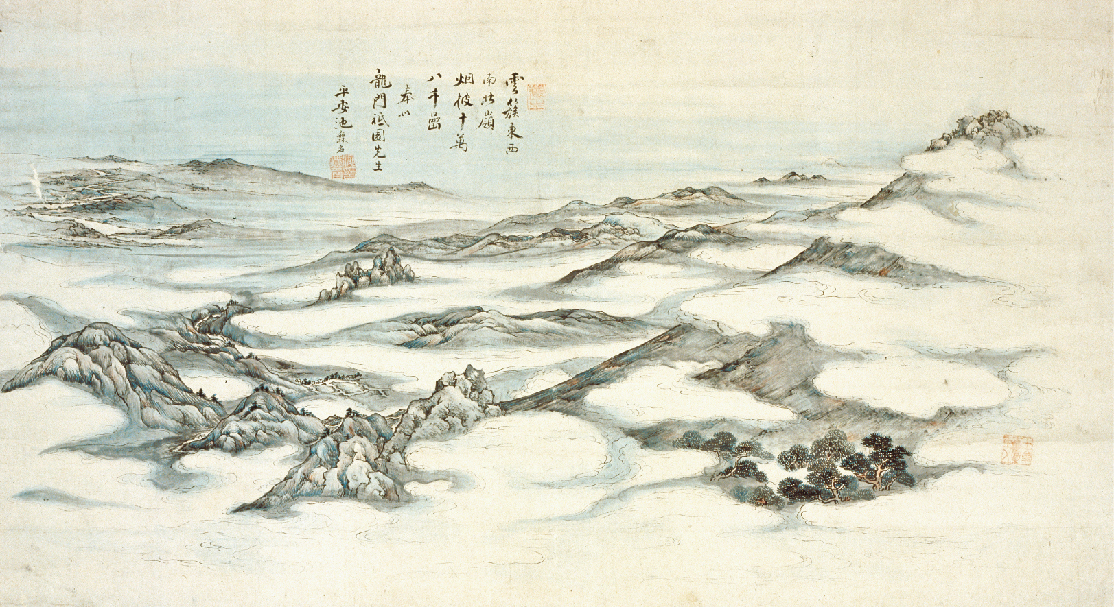 浅間山真景図 大雅の真景図を代表する作品。