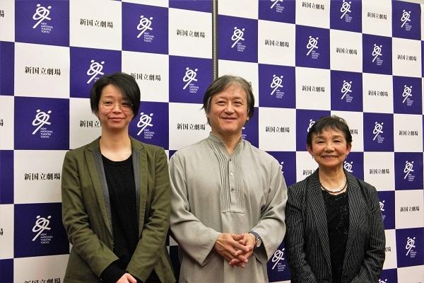 新国立劇場シーズンラインアップ説明会 左から、小川絵梨子演劇芸術監督、大野和士オペラ芸術監督、大原永子舞踊芸術監督