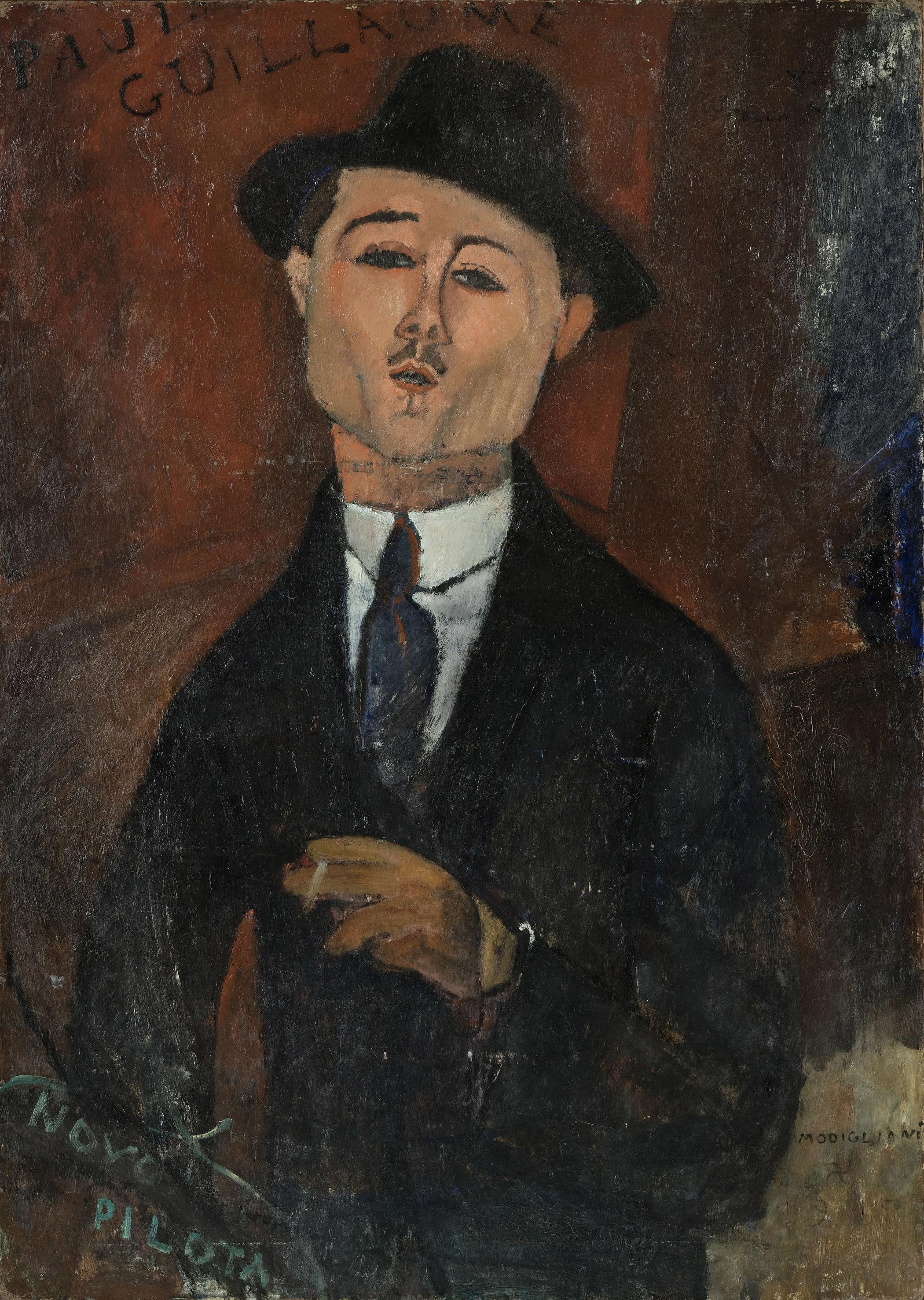 アメデオ・モディリアーニ《新しき水先案内人ポール・ギョームの肖像》1915年、油彩・厚紙を貼った合板、105×75cm、オランジュリー美術館 (C) RMN-Grand Palais (musée de l'Orangerie) / Hervé Lewandowski