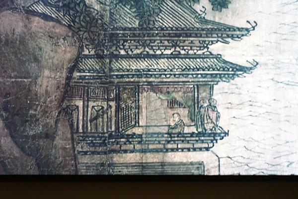 《金山寺図屏風》のクローズアップ映像より