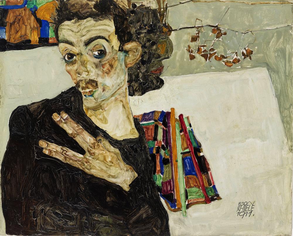 エゴン・シーレ《自画像》1911年 油彩/板 27.5×34 cm ウィーン・ミュージアム蔵 (C) Wien Museum / Foto Peter Kainz