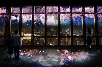 東京タワーで夜桜鑑賞! ネイキッドによる、夜景×桜のプロジェクションマッピング
