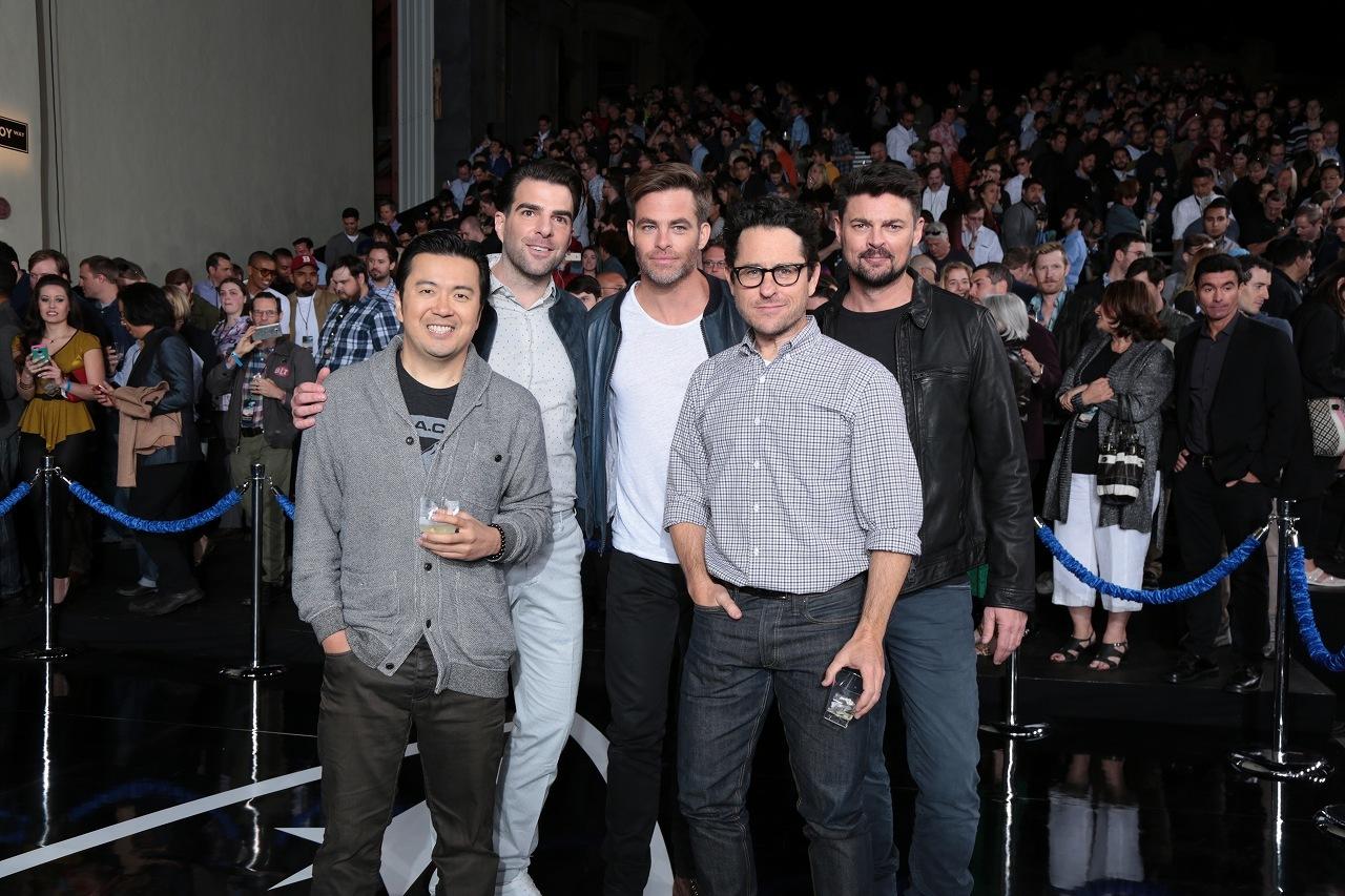 左から、ジャスティン・リン監督、ザカリ―・クイント、クリス・パイン、J.J.エイブラムス、カール・アーバン 『スター・トレック』ファン・デー