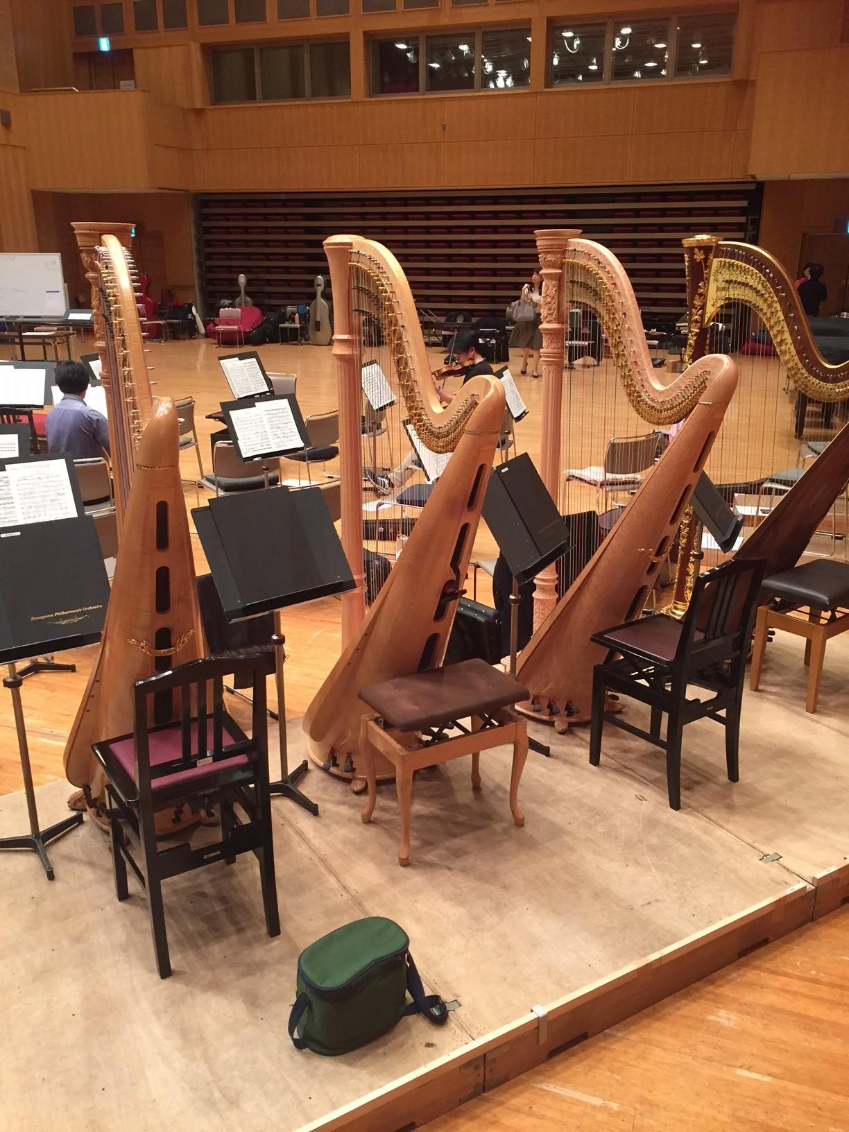 四台のハープが並ぶ様は壮観だ(リハーサルの光景より) 提供:神奈川フィルハーモニー管弦楽団