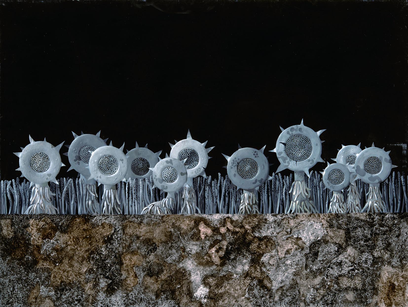 「平行植物」シリーズ:《向月葵》 1971年 油彩、キャンバス 150×200cm Works by Leo Lionni, On Loan By The Lionni Family