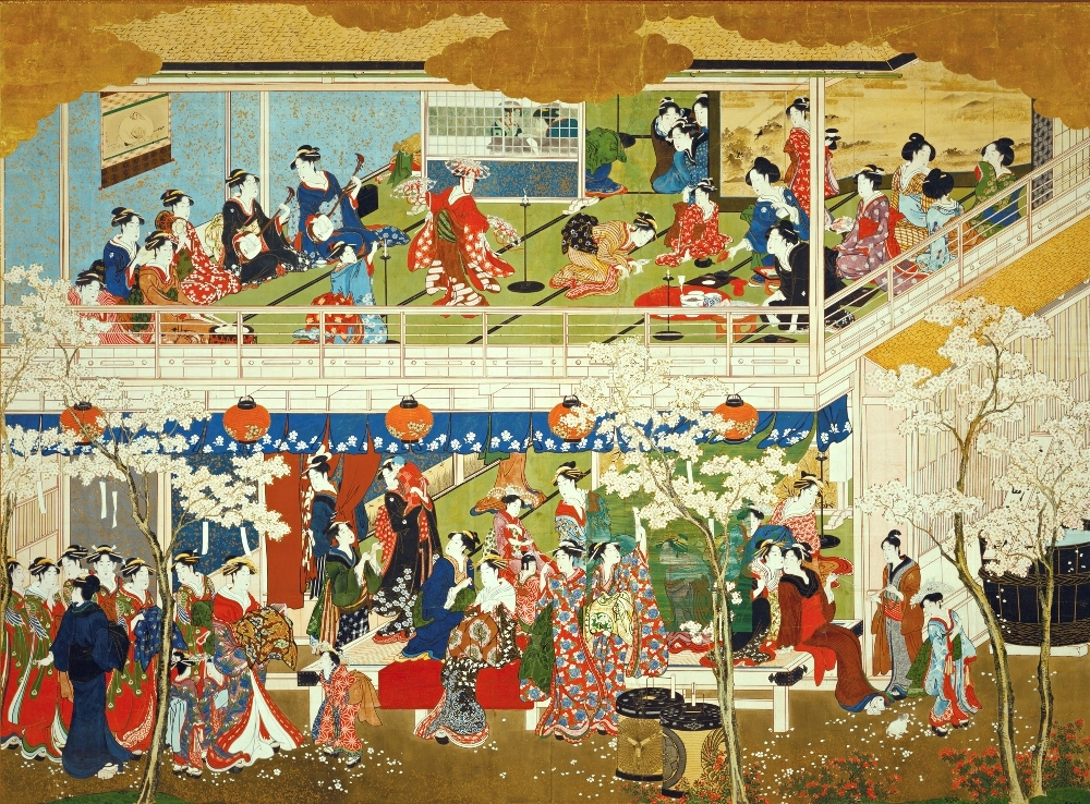 喜多川歌麿「吉原の花」 寛政3~4年(1791~92)頃  ワズワース・アセーニアム美術館蔵