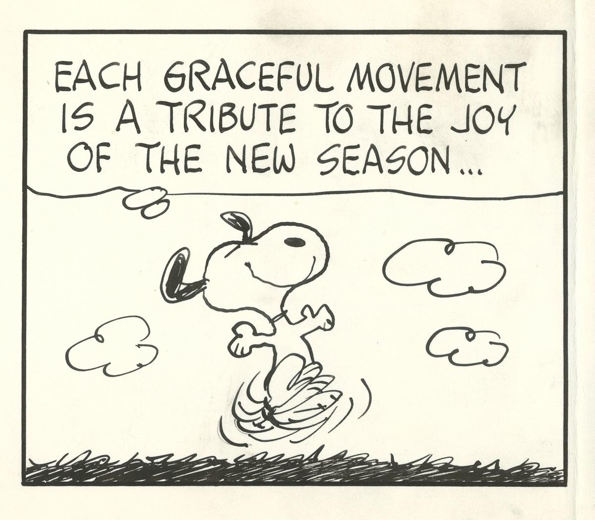 『ハッピーダンス』 、『ピーナッツ』原画(部分) 1972年3月20日 (c) Peanuts Worldwide LLC