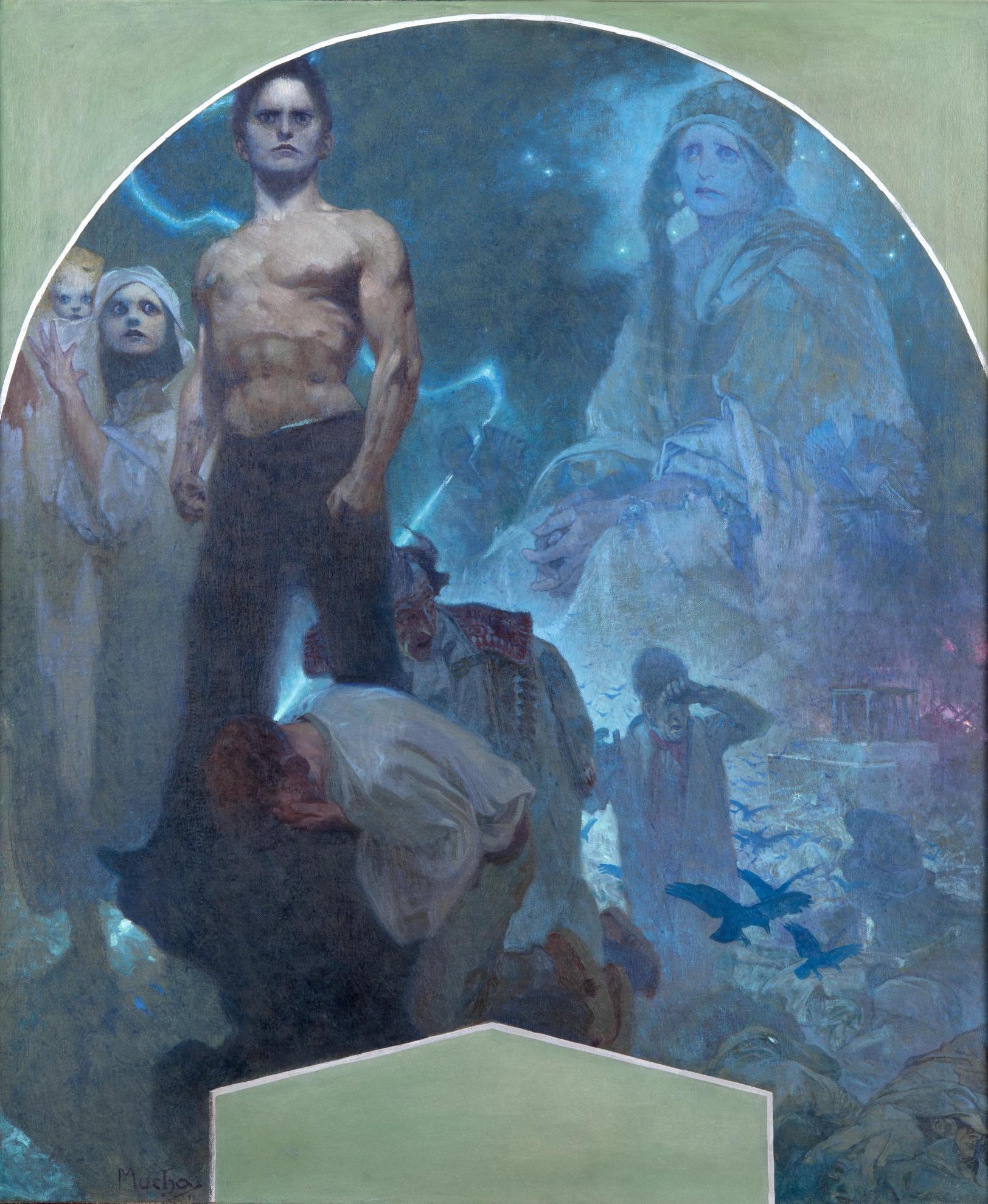 《自力Ⅱ 犠牲と勇気》プラハ市民会館壁画(下絵) 1911年 プラハ市立美術館 ©Prague City Gallery