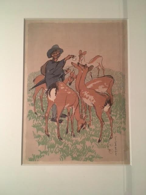 川端龍子≪奈良にて≫1915(大正4)年 多色刷木版 大田区立郷土博物館