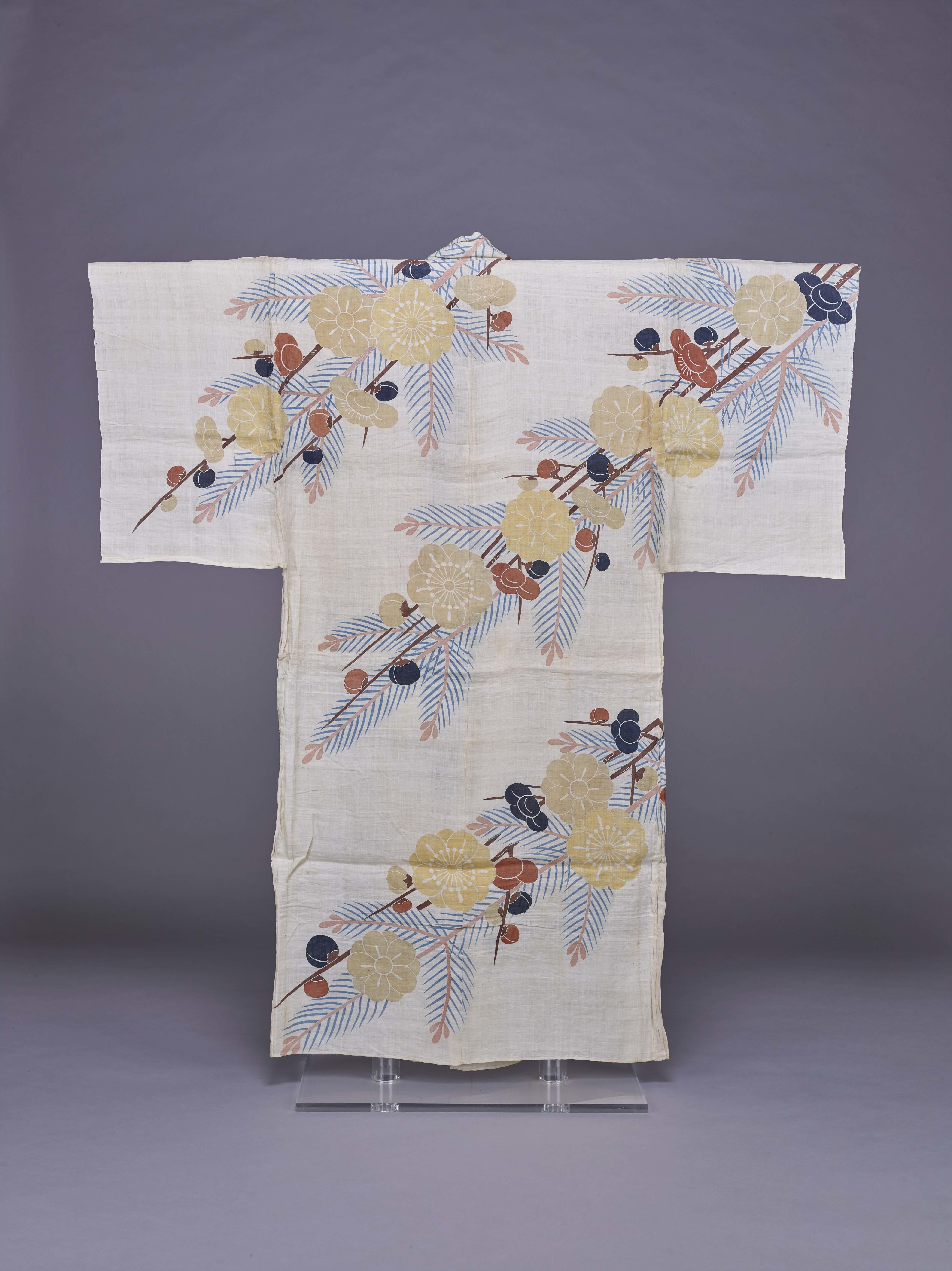 《白麻地槍梅若松模様浴衣》 江戸時代 18世紀後半 東京国立博物館 [後期展示] 画像提供:東京国立博物館 Image:TNM Image Archives
