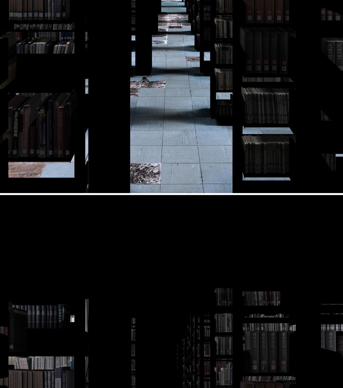 本と床と22個の光 (愛知県立芸術大学図書館棟書庫) 2016年 / 10 min. 48 sec. / アニメーション / *ダブルチャンネル URANO公式サイトより(https://urano.tokyo/)