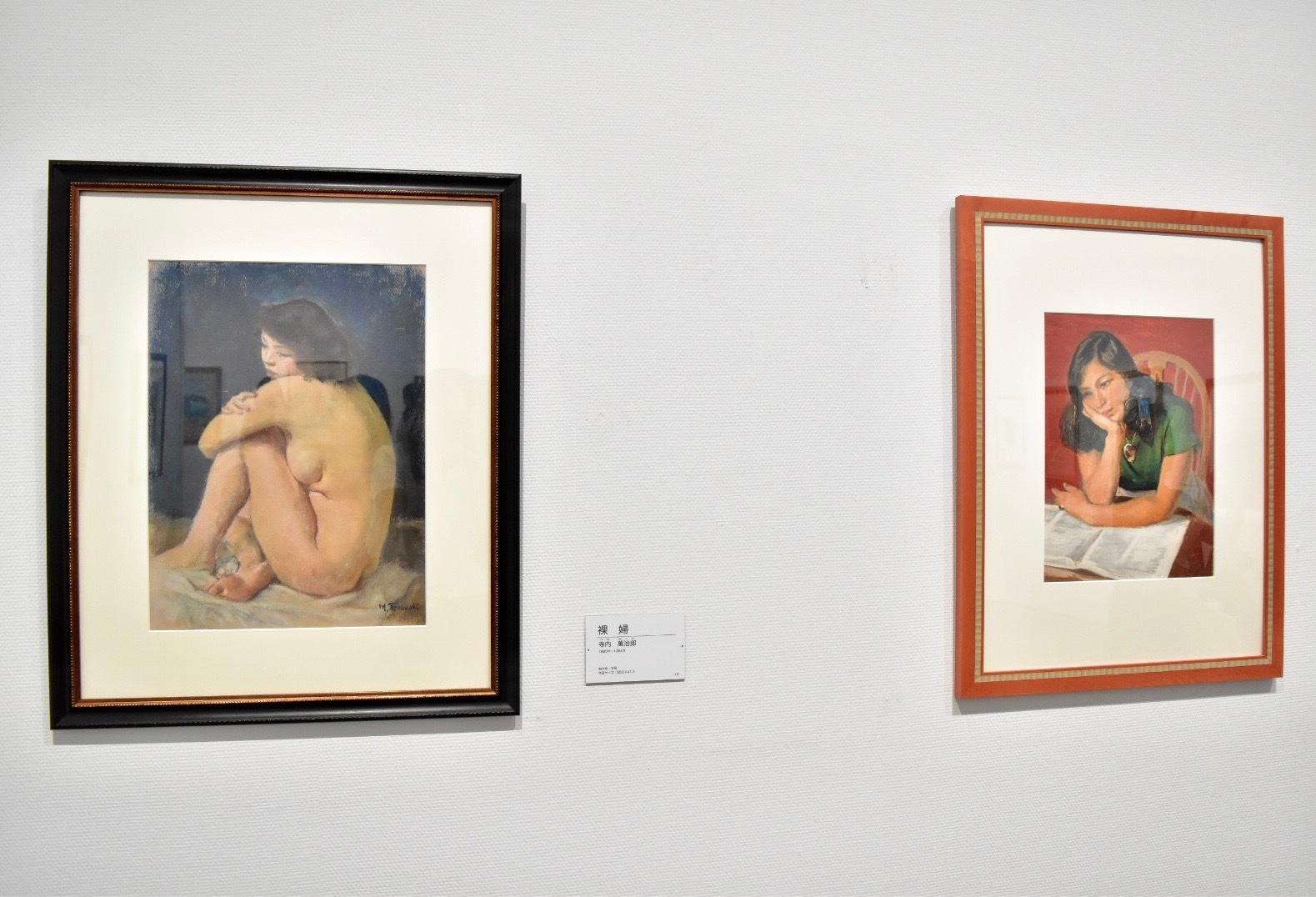 左:寺内萬治郎 《裸婦》制作年不明 右:寺内萬治郎 《緑衣の婦人像》制作年不明