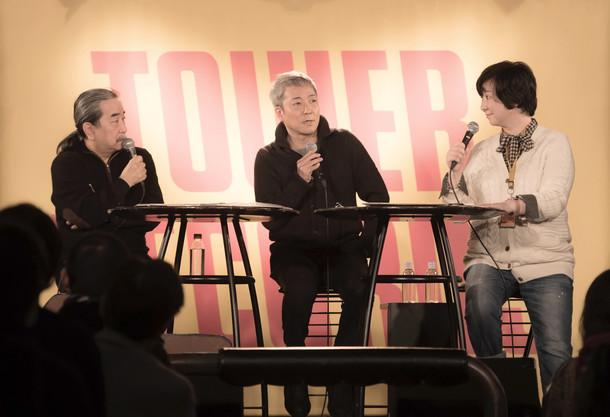 左から長門芳郎氏、佐野元春、能地祐子。(c)Sony Music Direct (Japan) Inc.