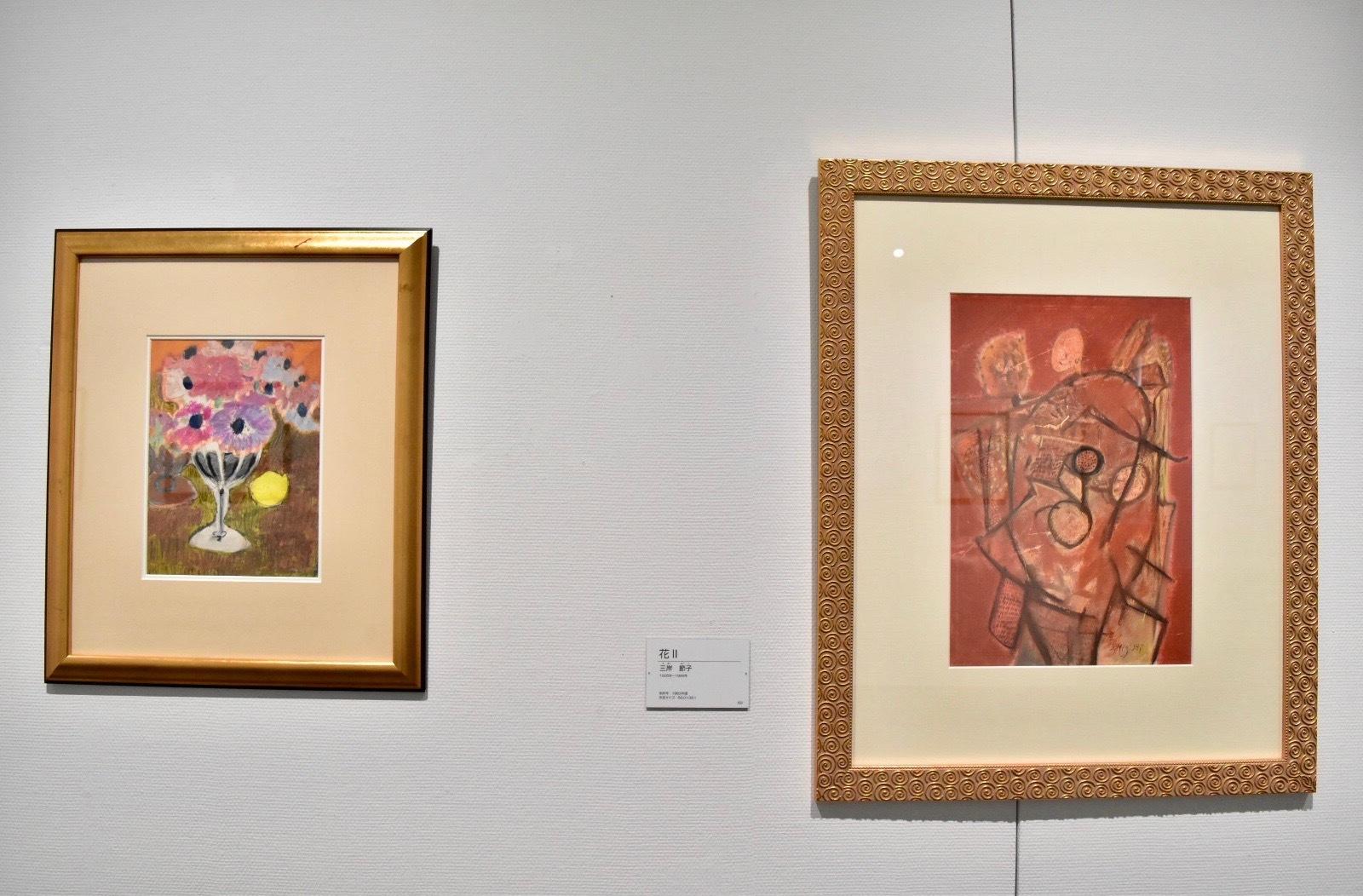 左:三岸節子 《花Ⅰ》1940年頃 右:三岸節子 《花Ⅱ》1963年頃