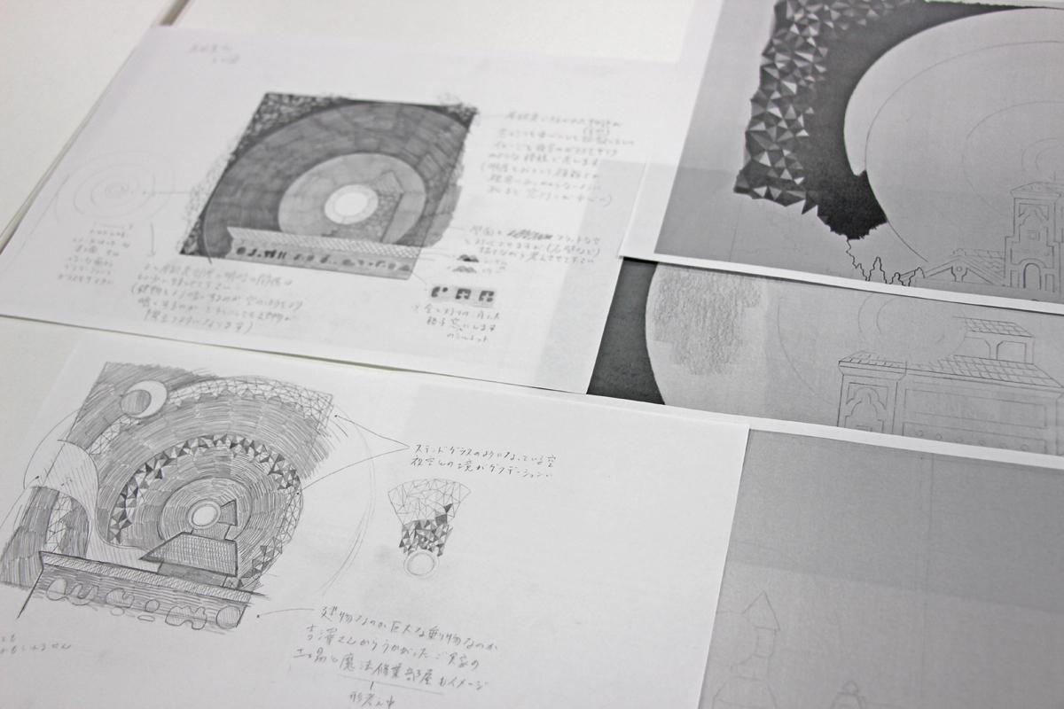 制作過程で使用されたラフ画など