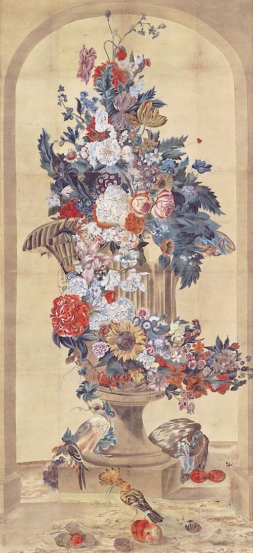 谷文晁《ファン・ロイエン筆花鳥図模写》神戸市立博物館  江戸後期の名絵師・谷文晁が西洋画を模して描いた作品。当時の日本人にとっては初めて見る写実表現だったとか。原画の油彩画は、徳川吉宗がオランダ商館に注文し輸入された