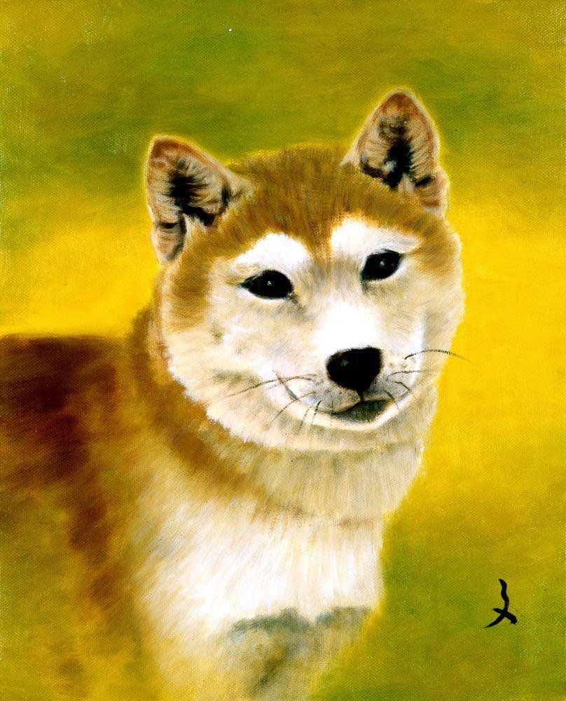 展示作品一例 「犬」油彩画 牧野 文幸(岡山県/口で描いた絵)