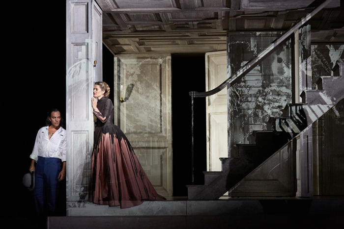 Erwin Schrott as Don Giovanni and Malin Bystrom as Donna Anna in Don Giovanni  (C) ROH 2019 Photographed by Mark Douet
