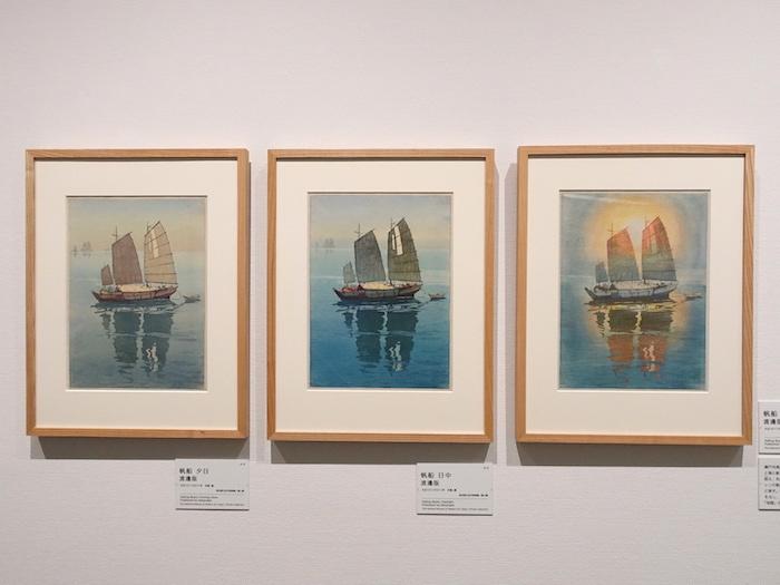 左から《帆船 夕日 渡邊版》、《帆船 日中 渡邊版》、《帆船 朝日 渡邊版》すべて大正10年 東京国立近代美術館/個人
