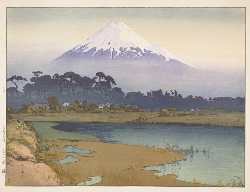 《冨士拾景 朝日》大正15(1926)年 木版、紙 53.3×71.2cm