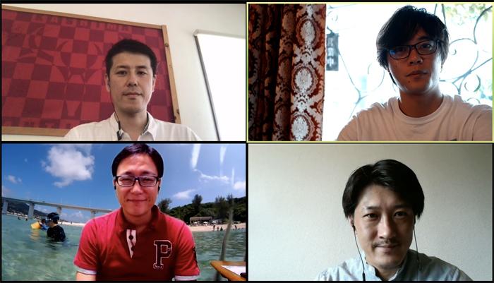 (上段左から)笹沼和彦、片岡大樹、(下段左から)しおつかこうへい、野村啓介