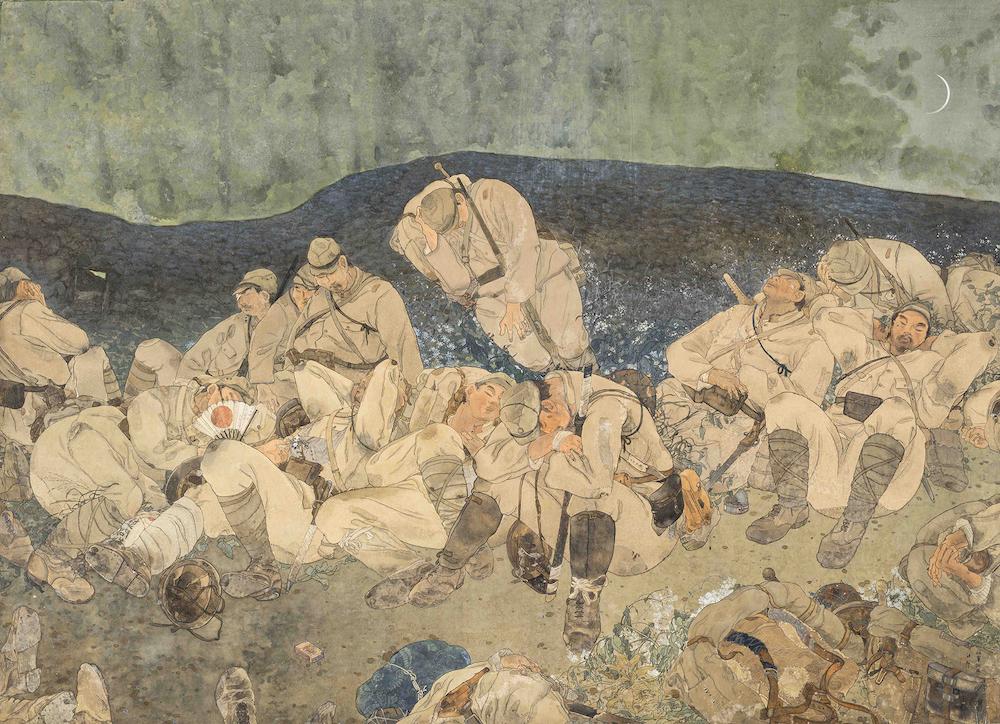 《虫の音》1938年 個人蔵   新発見作品。戦場で仮眠をとる疲れ果てた兵士たちの姿を描く。