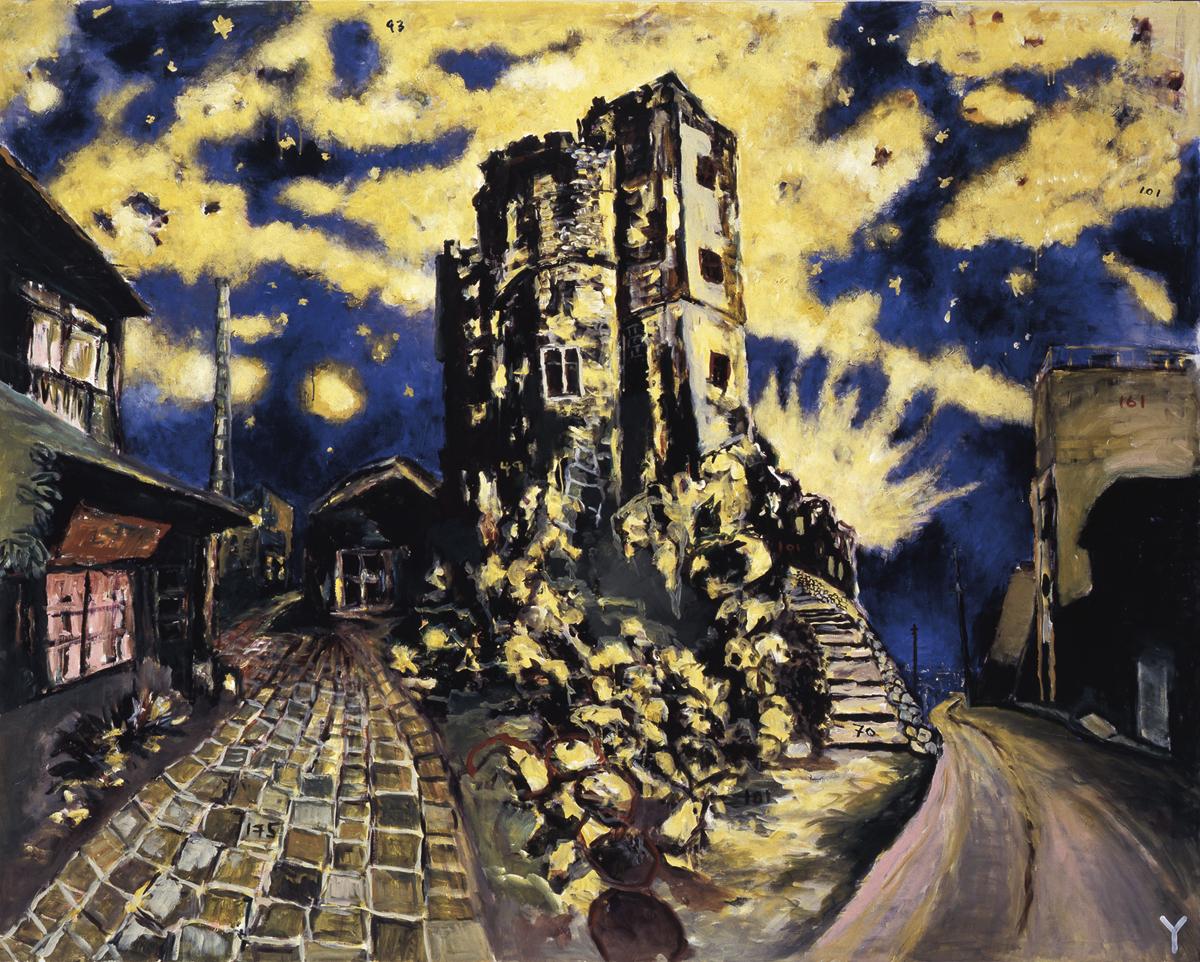 横尾忠則「DNF: 暗夜光路 眠れない街」 2001年/カンヴァスにアクリル絵具/182 x 227.5 cm