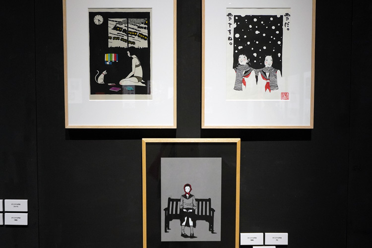 左上:オリジナル作品《夜猫》、右上:オリジナル作品《冬》、下:オリジナル作品《スカーフ》