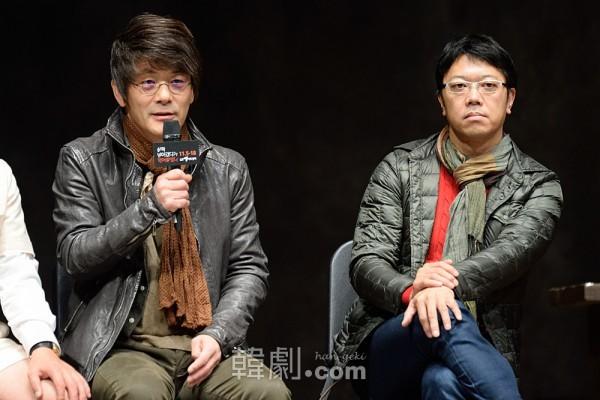 演出家キム・グァンポ(左)と原作者の土田英生