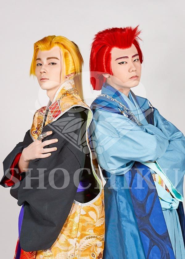 図夢歌舞伎『弥次喜多』ブロマイド (左から)伊月梵太郎(市川染五郎)、五代政之助(市川團子