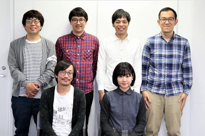 (右上から)上田誠、石田剛太、酒井善史、諏訪雅、(右下から)藤谷理子、中川晴樹