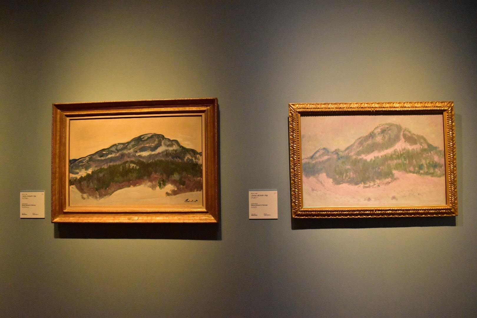 左:クロード・モネ《ノルウェーのコルサース山》1895年 マルモッタン・モネ美術館、パリ 右:クロード・モネ《ノルウェーのコルサース山》1895年 オルセー美術館、パリ