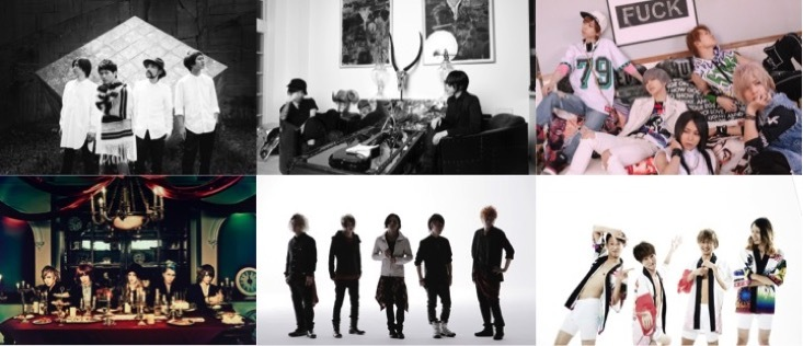 左上からNICO Touches the Walls、BAROQUE、SuG、BugLug、INKT、フラチナリズム