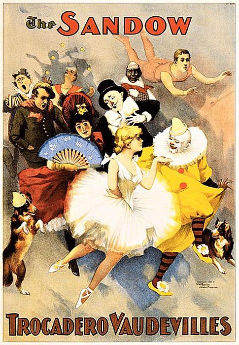 元祖ボディビルダーの怪力男サンドウが率いる、ヴォードヴィル一座のポスター(1894年上演)。多彩な出し物がうかがえる。