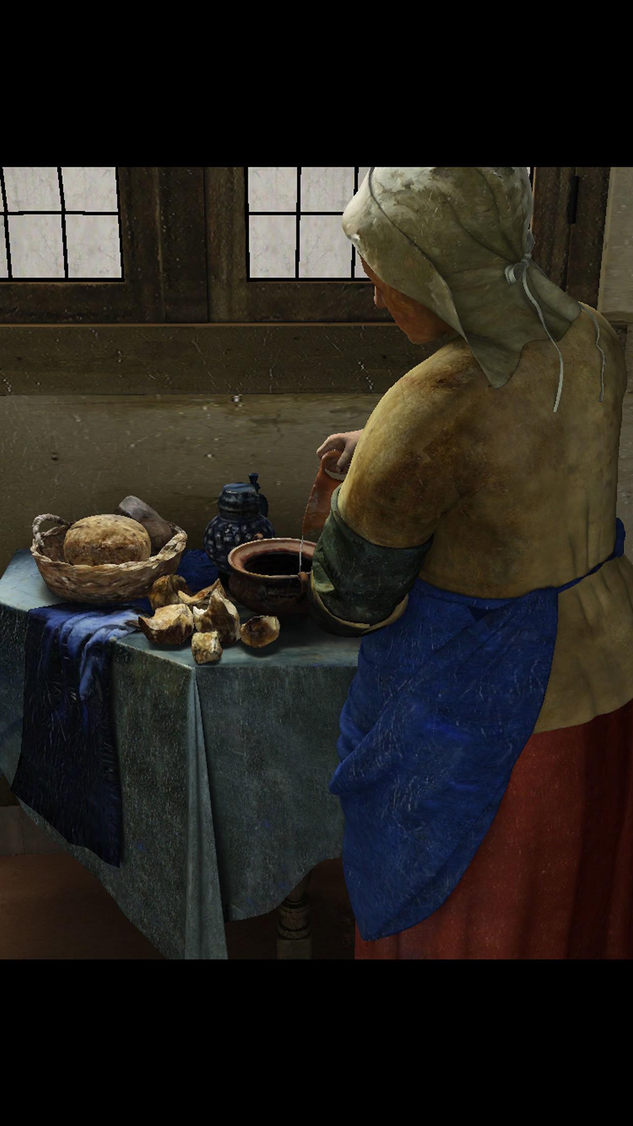 以上3点  『ViewPaint フェルメール《牛乳を注ぐ女》』より 製作・著作:凸版印刷株式会社 / 監修:小林頼子(目白大学教授) / Original photo data (Het melkmeisje [The Milkmaid] by Johannes Vermeer):©Rijksmuseum Amsterdam. Purchased with the support of the Vereniging Rembrandt.