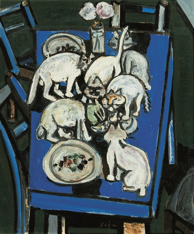 猪熊弦一郎 《猫と食卓》 1952年 油彩・カンヴァス 丸亀市猪熊弦一郎現代美術館蔵 ©The MIMOCA Foundation ※無断転載禁止