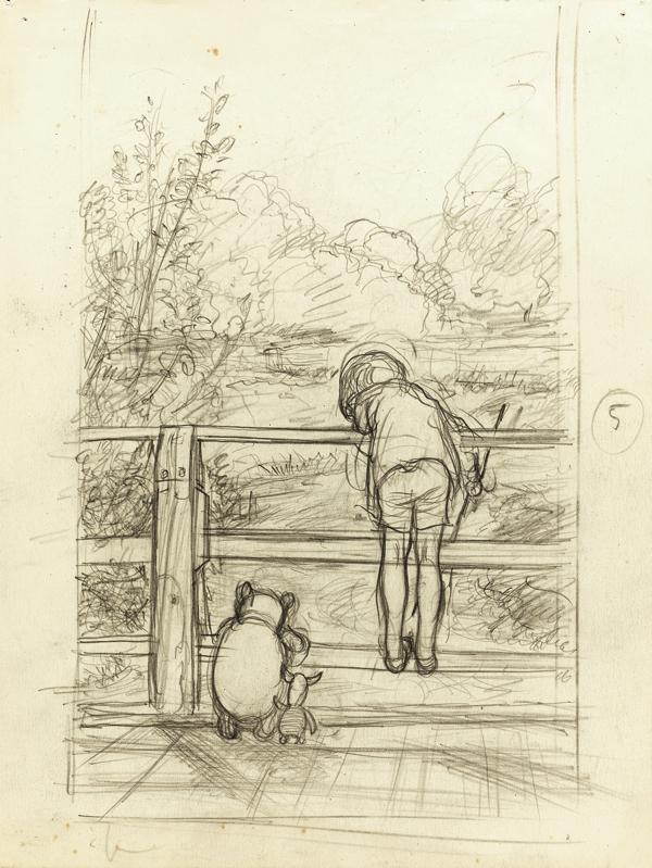 「ながいあいだ、三人はだまって、下を流れてゆく川をながめていました」、 『プー横丁にたった家』第6章、E.H.シェパード、鉛筆画、1928年、  ジェームス・デュボース・コレクション (C) The Shepard Trust