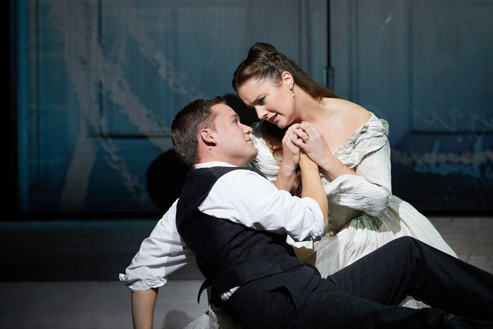 Leon Kosavic as Masetto and Louise Alder as Zerlina in Don Giovanni  (C) ROH 2019 Photographed by Mark Douet