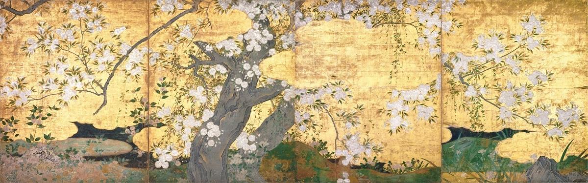 国宝 桜図壁貼付 長谷川久蔵筆 京都・智積院 桃山時代・16世紀