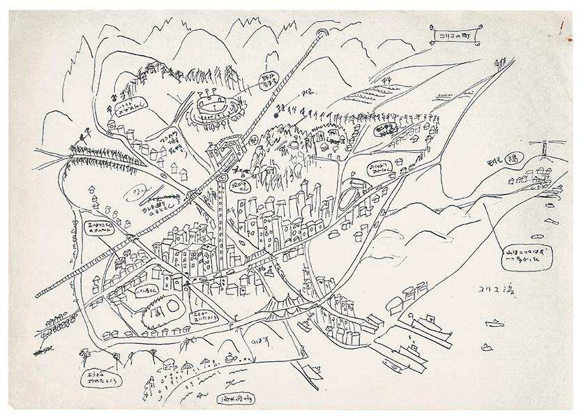 角野が描いた「魔女の宅急便」の舞台コリコの町のイメージ図