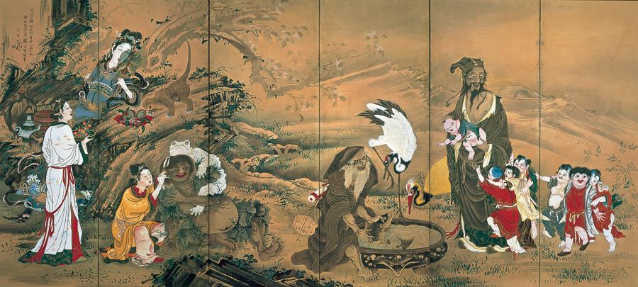 曽我蕭白《群仙図屏風》(左隻)明和元(1764)年 文化庁 重要文化財(展示期間:3月12日〜4月7日)
