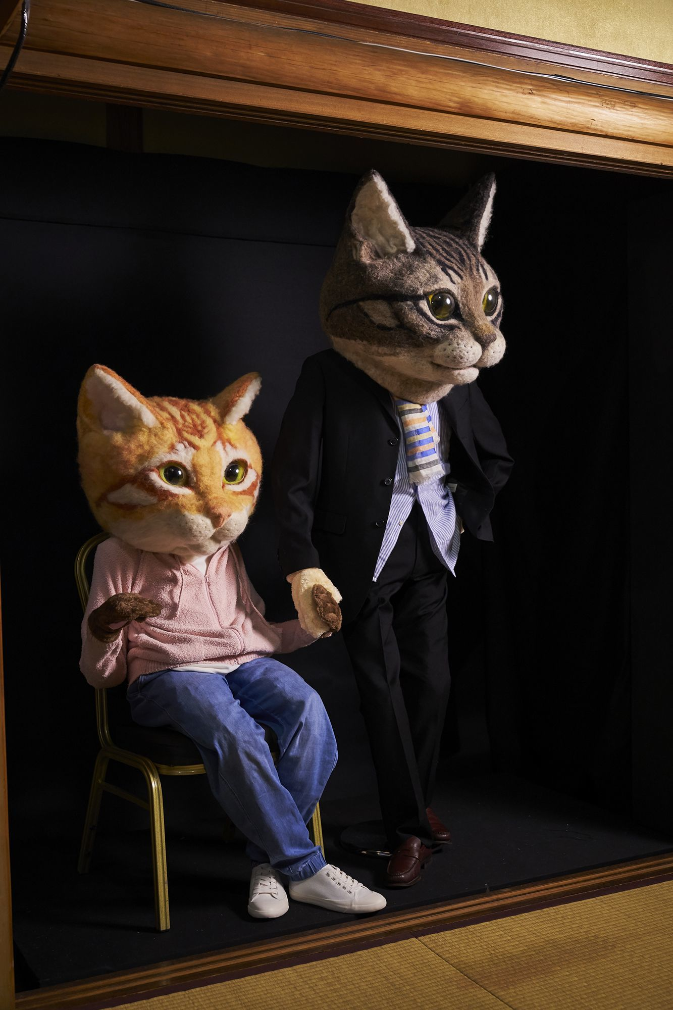二度見する人続出の羊毛アート  リアル猫ヘッド/佐藤法雪作