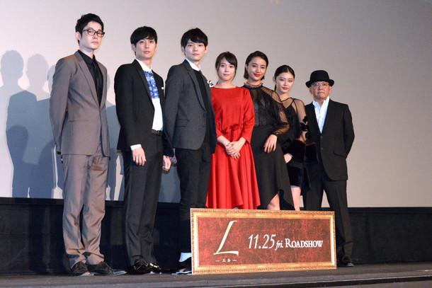 左から弥尋、平岡祐太、古川雄輝、広瀬アリス、高橋メアリージュン、古畑星夏、下山天監督。