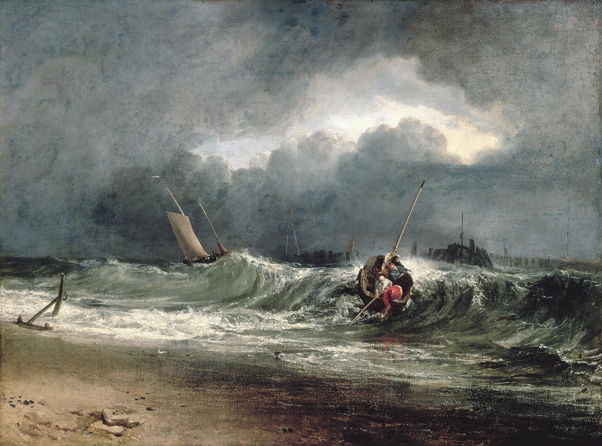 《風下側の海岸にいる漁師たち、時化模様》 1802年展示 油彩・カンヴァス 91.5×122cm サウサンプトン・シティ・アート・ギャラリー (c)Bridgeman Images / DNPartcom