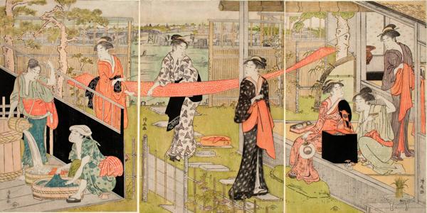鳥居清長「洗濯と張り物」 天明(1781–89)後期